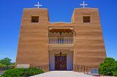 pic of pueblo  - Sacred Heart Catholic Church in Nambe Pueblo New Mexico near Santa Fe - JPG