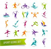 pic of archery  - Colorful sports icon set vector illustration isolated on background - JPG