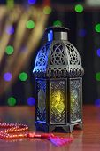 stock photo of rosary  - Ramadan lantern and rosary - JPG