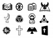 picture of jesus sign  - A Christian religious icon set with signs and symbols related to Christian themes - JPG