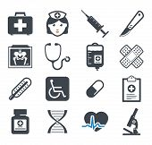 stock photo of stethoscope  - Medicine icons set - JPG