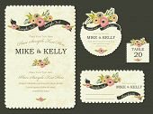 stock photo of flourish  - Brimming with blooms invitation card - JPG