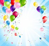 image of helium  - Bright holiday background with balloons and flags - JPG