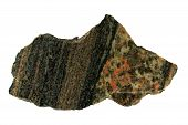image of gneiss  - A contact between granite and gneiss  - JPG
