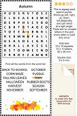 picture of riddles  - Autumn themed zigzag word search puzzle - JPG