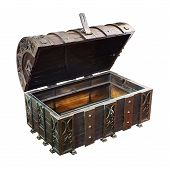 stock photo of plunder  - The Empty treasure Chest on white background - JPG