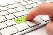 pic of peripherals  - Online blog concept - keyboard with blog key