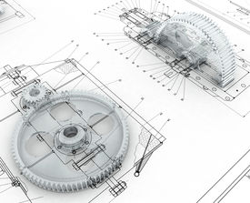 picture of mechanical engineer  - 3D render image with mechanical sketch and gears - JPG