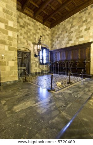 Room inside the palace of the Knights at Rhodes island, Greece