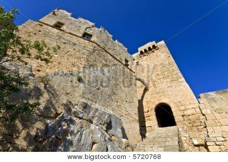 Castle at Lindos acropolis, Rhodes island, Greece