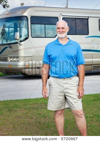 Senior Man With Motor Home