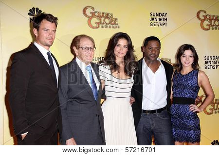 Josh Duhamel, Philip Berk, Katie Holmes, Blair Underwood, Gia Mantegna at the 68th Annual Golden Globe Awards Nominations Announcement, Beverly Hilton Hotel, Beverly Hills, CA. 12-14-10