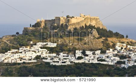 Traditional Greek village of Lindos and its acropolis at Rhodes island, Greece