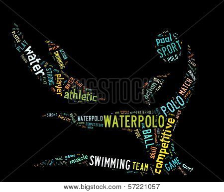 Waterpolo Word Cloud With Colorful Wordings