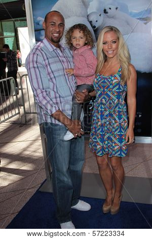 Kendra Wilkinson and Hank Baskett with son Hank Jr. at the Los Angeles Premiere of