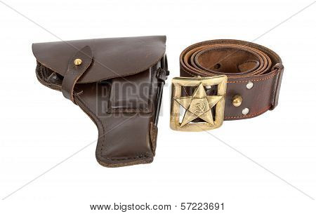 Old Russian Belt And Holster Isolated On White Background
