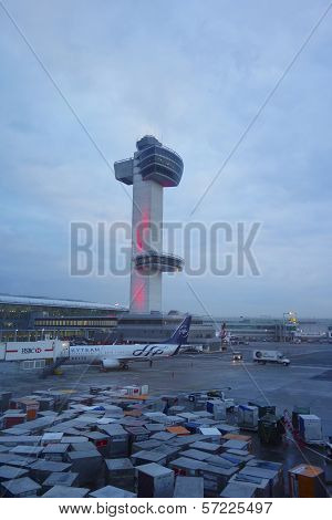 Air Traffic Control Tower at John F Kennedy International Airport in New York