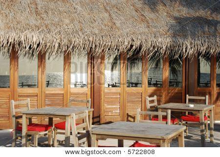 Beach Restaurant View In Maldives (ocean Reflection)
