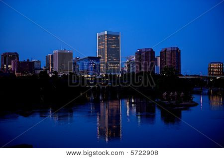 Richmond, Virginia city skyline over the James River.