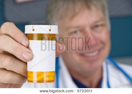 Pharmacist Doctor And Pill Bottle