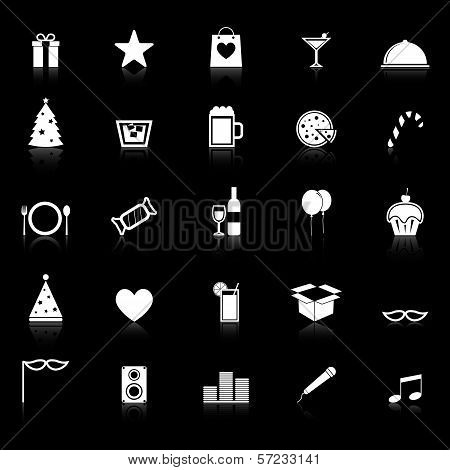 Party Icons With Reflect On Black Background