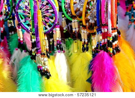 Native American colorful dreamcatchers