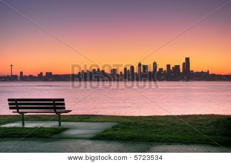 Seattle Sunrise From Alki Park
