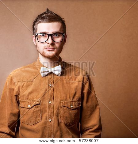 Hipster Style Guy In Studio