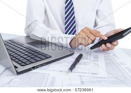 Businessman Checking Financial Data