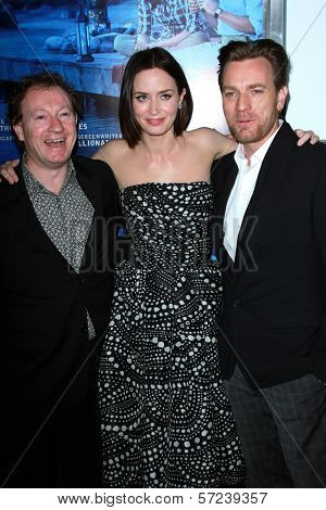 Simon Beaufoy, Emily Blunt, Ewan McGregor at the