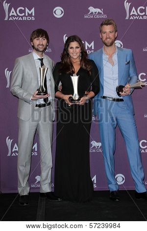 Charles Kelley, Hillary Scott and Dave Haywood at the 47th Academy Of Country Music Awards Press Room, MGM Grand, Las Vegas, NV 04-01-12