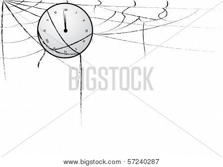 Clock Entangled In Spiderweb