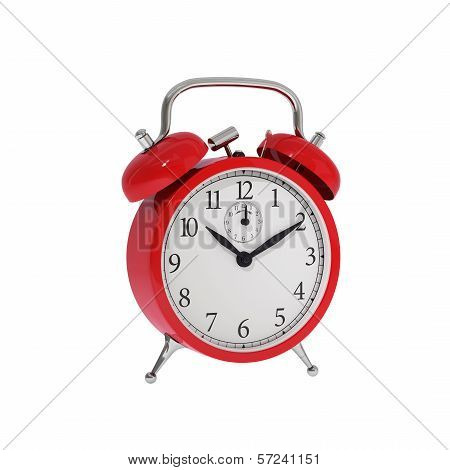 Isolated vintage red classic alarm clock