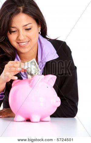 Mulher, poupar dinheiro