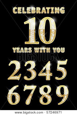 Set of shiny golden 0-9 numbers with diamonds