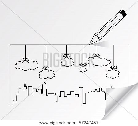 Vector Pencil Drawing Of City Contours Of Buildings And Clouds