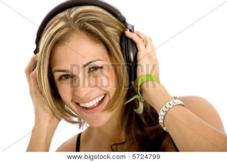 Frau Musikhören