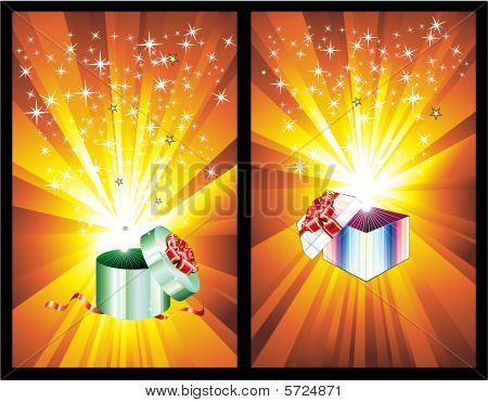 3D Decorated Gift Box With Ray Lights with high contrast colors