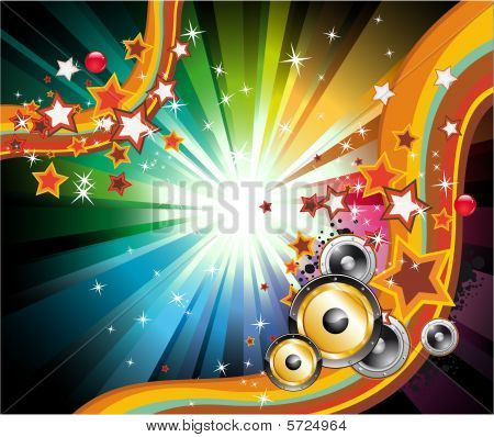 Music Background For Disco Flyers with high contrast colors