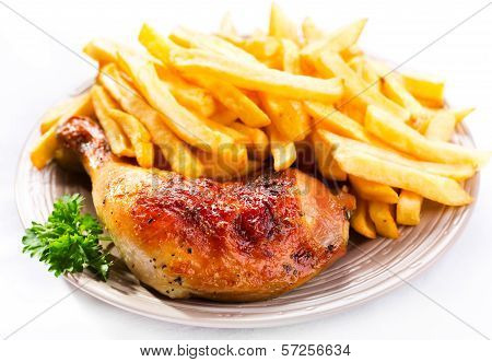 Roasted Chicken Leg With Fries Potato