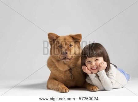 Dog With Cheerful Child