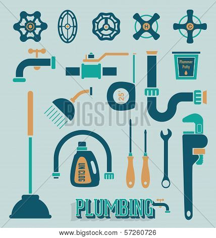 Vector Set: Retro Plumbing Icons and Symbols