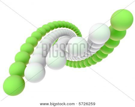 Green and white helix