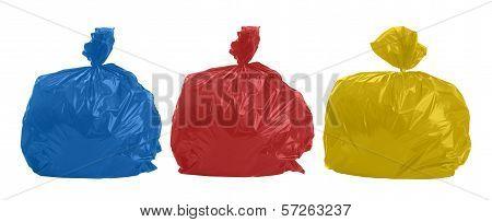 Three Colored Rubbish Bags