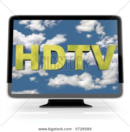 Hdtv Flatscreen Display On White