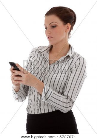 Beautiful Young Business Woman Checking Her Messages On Her Smartphone