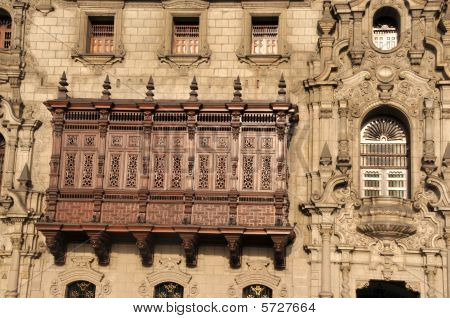 Detail of balcony of Archbishop's Palace, Plaza Mayor, Lima, Peru