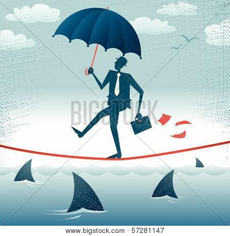 Abstract Businessman walks Tightrope with Confidence.