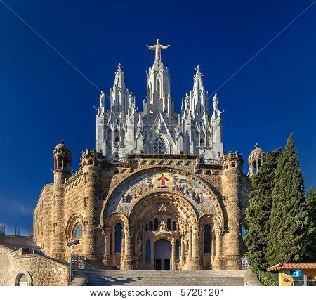 Temple Expiatori Del Sagrat Cor On Tibidabo Mountain In Barcelona, Spain