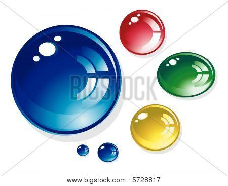 colorful Wassertropfen shiney Runde auf weißem Hintergrund